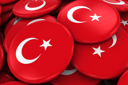 turkish flag: Pile of Turkish Flag Badges - Flag of Turkey Buttons piled on top of each other - 3D Illustration