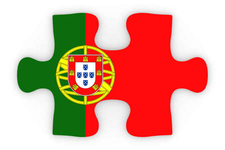 top down: Portuguese Flag Puzzle Piece Top Down Orthographic 3D Illustration