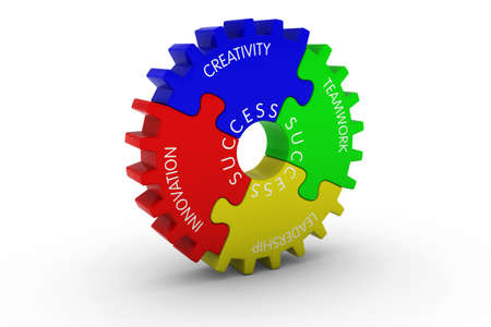 multicoloured: Creativity + Teamwork + Leadership + Innovation = Success Multicoloured Jigsaw Puzzle Cog Wheel - 3D Illustration Stock Photo