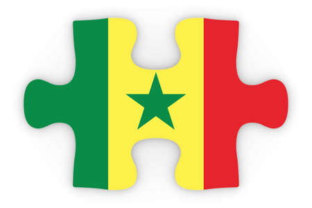 top down: Senegalese Flag Puzzle Piece Top Down Orthographic 3D Illustration