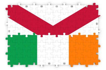 northern ireland: Irish and Northern Irish Relations Concept Image - Flags of Ireland and Northern Ireland Jigsaw Puzzle Stock Photo