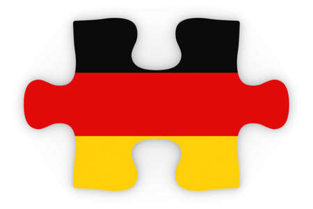 top down: German Flag Puzzle Piece Top Down Orthographic 3D Illustration