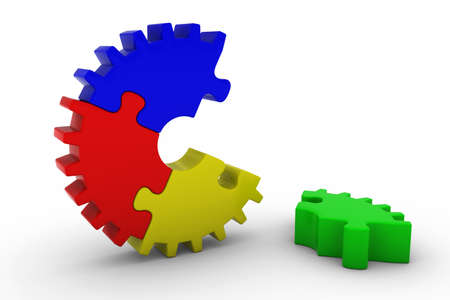 multicoloured: Multicoloured Jigsaw Puzzle Cog Wheel with Piece on Floor - 3D Illustration Stock Photo