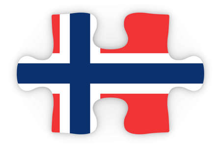 norwegian flag: Norwegian Flag Puzzle Piece Top Down Orthographic 3D Illustration