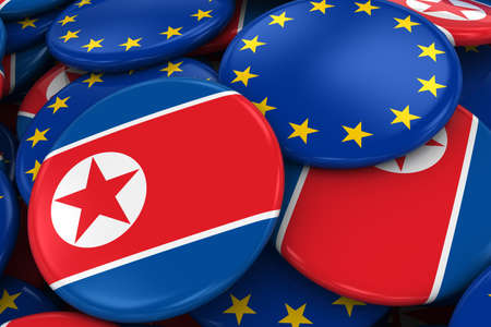 opposed: Flag Badges of North Korea and Europe in Pile - Concept image for North Korean and European Relations - 3D Illustration