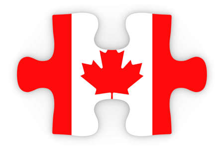 canadian flag: Canadian Flag Puzzle Piece Top Down Orthographic 3D Illustration