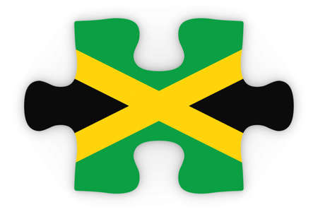 top down: Jamaican Flag Puzzle Piece Top Down Orthographic 3D Illustration