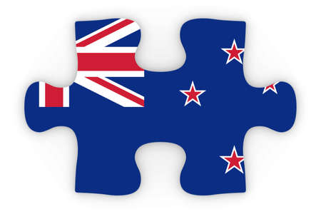 top down: New Zealand Flag Puzzle Piece Top Down Orthographic 3D Illustration