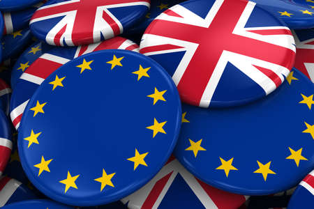 opposed: Flag Badges of Europe and UK in Pile - Concept image for European and British Relations - 3D Illustration
