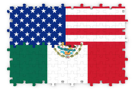 usa flags: American and Mexican Relations Concept Image - Flags of the United States and Mexico Jigsaw Puzzle Stock Photo