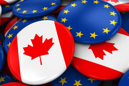 Flag Badges of Canada and Europe in Pile - Concept image for Canadian and European Relations - 3D Illustration