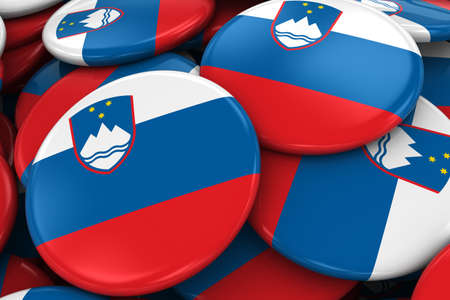 slovenian: Pile of Slovenia Flag Badges - Flag of Slovenian Buttons piled on top of each other - 3D Illustration