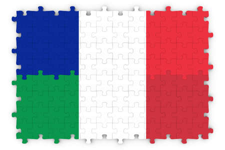 merged: French and Italian Relations Concept Image - Flags of France and Italy Jigsaw Puzzle Stock Photo
