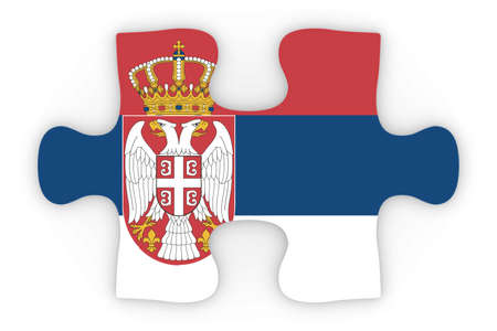 top down: Serbian Flag Puzzle Piece Top Down Orthographic 3D Illustration