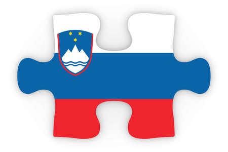 top down: Slovenian Flag Puzzle Piece Top Down Orthographic 3D Illustration