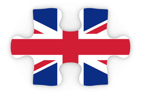 top down: United Kingdom Flag Puzzle Piece Top Down Orthographic 3D Illustration Stock Photo