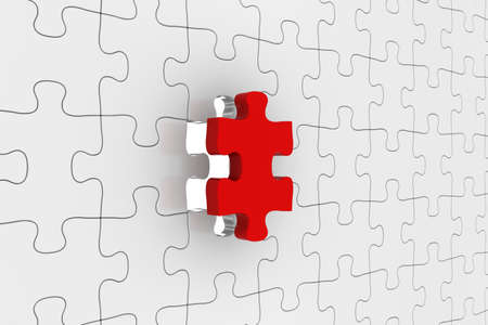 gaps: White Jigsaw Puzzle with Red Piece