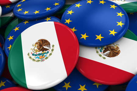 opposed: Flag Badges of Mexico and Europe in Pile - Concept image for Mexican and European Relations - 3D Illustration Stock Photo