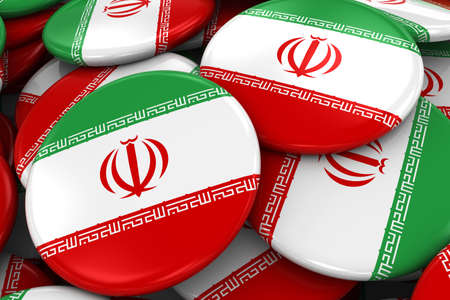 iranian: Pile of Iranian Flag Badges - Flag of Iran Buttons piled on top of each other - 3D Illustration Stock Photo