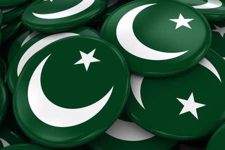 pakistani pakistan: Pile of Pakistani Flag Badges - Flag of Pakistan Buttons piled on top of each other - 3D Illustration