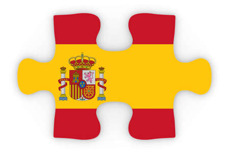 orthographic: Spanish Flag Puzzle Piece Top Down Orthographic 3D Illustration Stock Photo