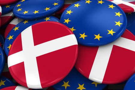 danish: Flag Badges of Denmark and Europe in Pile - Concept image for Danish and European Relations - 3D Illustration
