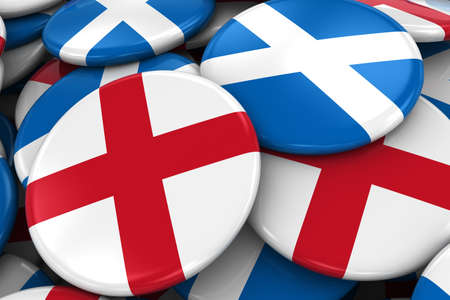 opposed: Flag Badges of England and Scotland in Pile - Concept image for English and Scottish Relations