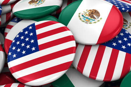 usa flags: Flag Badges of America and Mexico in Pile - Concept image for US and Mexican Relations