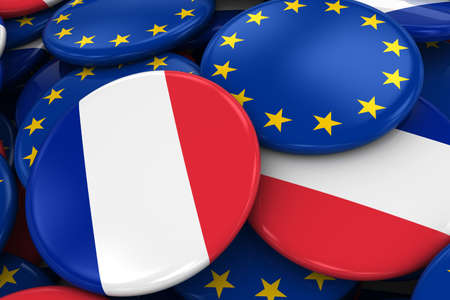 opposed: Flag Badges of France and Europe in Pile - Concept image for French and European Relations