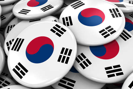 korean flag: Pile of South Korean Flag Badges - Flag of South Korea Buttons piled on top of each other