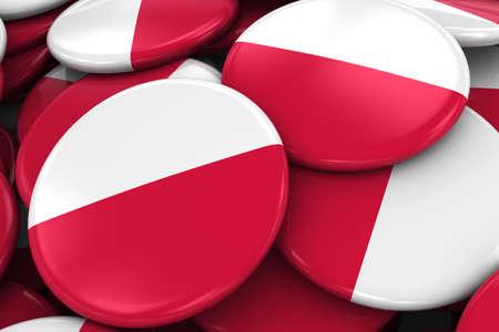 bandera de polonia: Pila de bandera polaca Placas - Bandera de Polonia Botones apiladas una encima de la otra - Ilustraci�n 3D Foto de archivo
