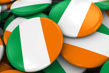 irish flag: Pile of Irish Flag Badges - Flag of Ireland Buttons piled on top of each other