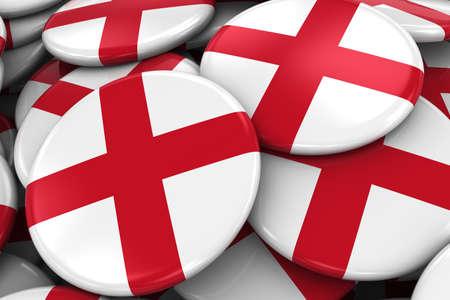 bandiera inglese: Pile di bandiera inglese Badge - Flag of England pulsanti accatastati l'uno sopra l'altro