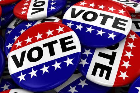 blue button: Pile of Vote Badges - US Elections Concept Image