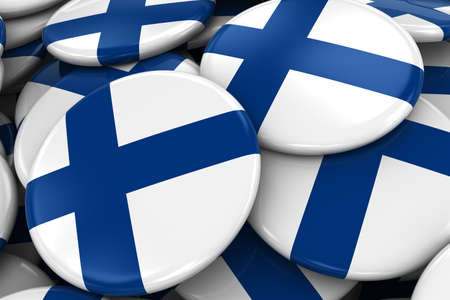 finnish: Pile of Finnish Flag Badges - Flag of Finland Buttons piled on top of each other - 3D Illustration