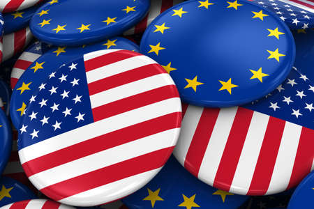 opposed: Flag Badges of America and Europe in Pile - Concept image for American and European Relations