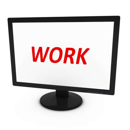flatscreen: Red WORK Text on Computer Screen - Isolated on White - 3D Illustration