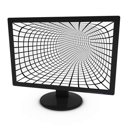 flatscreen: Black and White Grid Pattern on Isolated Computer Monitor - 3D Illustration