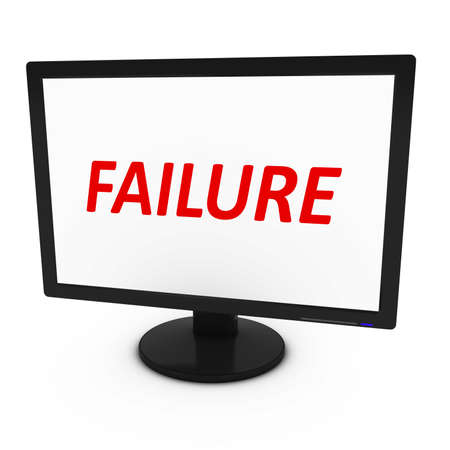 tft: Red FAILURE Text on Computer Screen - Isolated on White - 3D Illustration Stock Photo
