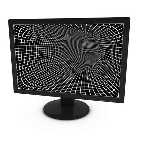 flatscreen: White and Black Grid Pattern on Isolated Computer Monitor - 3D Illustration