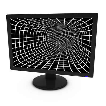tft: White and Black Grid Pattern on Isolated Computer Monitor - 3D Illustration