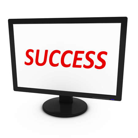 tft: Red SUCCESS Text on Computer Screen - Isolated on White - 3D Illustration