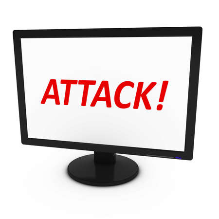 computer attack: - 3D IllustrationRed ATTACK! Text on Computer Screen - Isolated on White