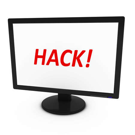 Red HACK! Text on Computer Screen - Isolated on White - 3D Illustration