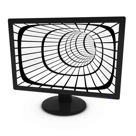 tft: Black and White Grid Tunnel on Isolated Computer Monitor - 3D Illustration