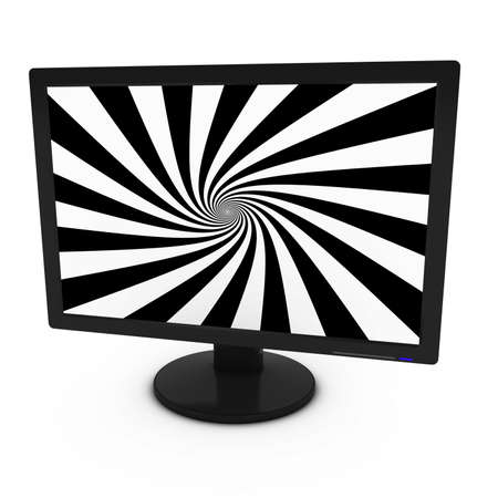 flatscreen: Black and White Spiral Pattern on Isolated Computer Monitor - 3D Illustration