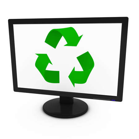 Green Recycling Symbol on Computer Screen - Isolated on White - 3D Illustration Stock Photo