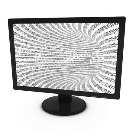 tft: Black and White Binary Tunnel background on Computer Screen - 3D Illustration