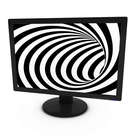 spiraling: Black and White Spiral Pattern on Isolated Computer Monitor - 3D Illustration