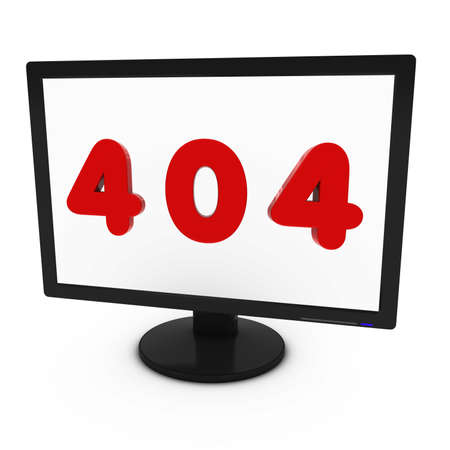 page not found: Red 404 Image on Computer Screen - Isolated on White